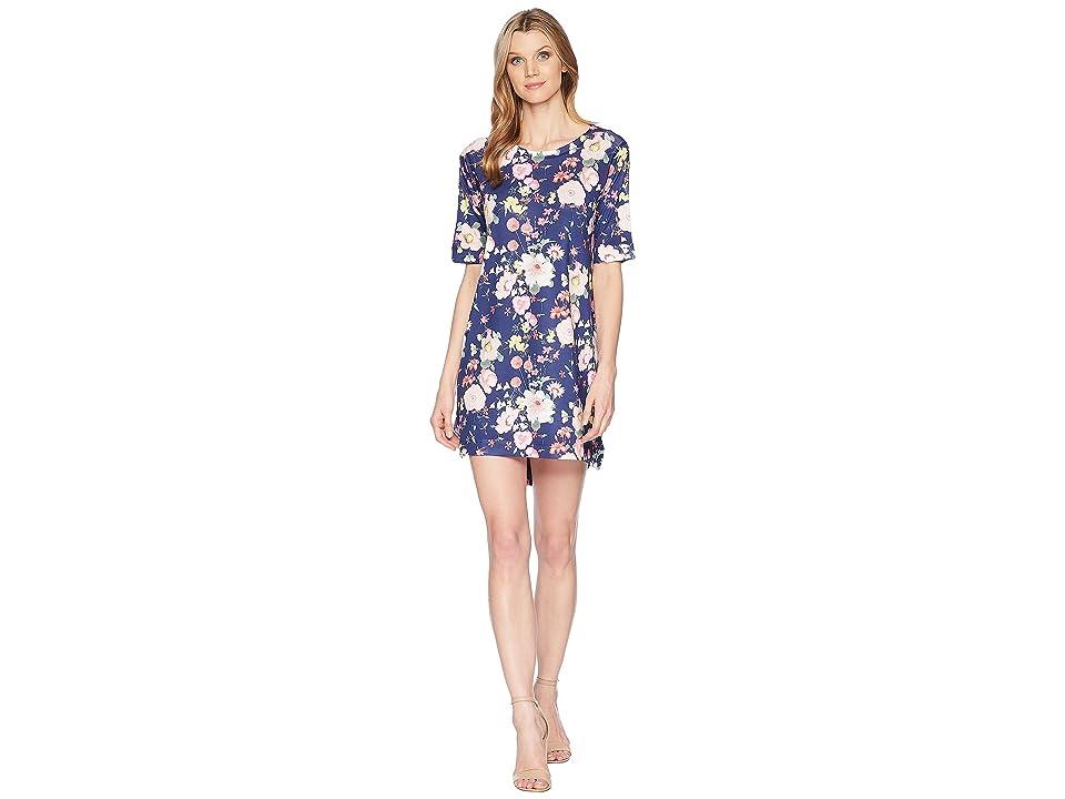 Nally & Millie Elbow Sleeve Navy Poppy Floral Print Dress (Multi) Women