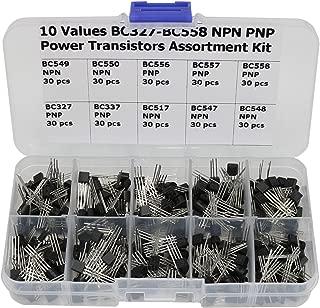 300 Pcs Transistors kit,10 Value BC327 BC337 BC517 BC547 BC548 BC549 BC550 BC556 BC557 BC558 NPN PNP Power Transistor Assortment Kit