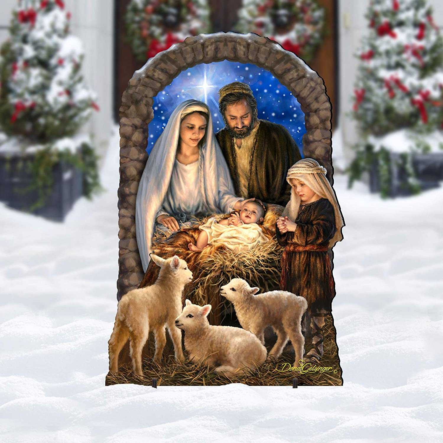 Designocracy Ourtdoor Nativity Outlet ☆ Great interest Free Shipping Scene Miracle O and Home