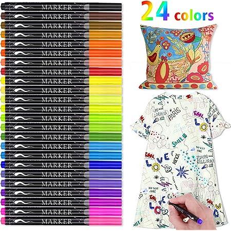 Textilstifte, RATEL 24 Farben Wasserfeste Textilmarker Keine Blutung Stoffmalstifte Permanent Marker, Ideal zum Dekorieren von T-Shirts, Lätzchen, Textilien, Schuhen, Handtaschen