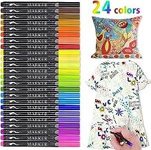 Marcadores textiles, RATEL 24 colores Marcadores de tela y textiles Sin sangrado No tóxico marcador de tela Permanente y lavable,Ideal para decorar camisetas, textiles, zapatos, firmas de graduación