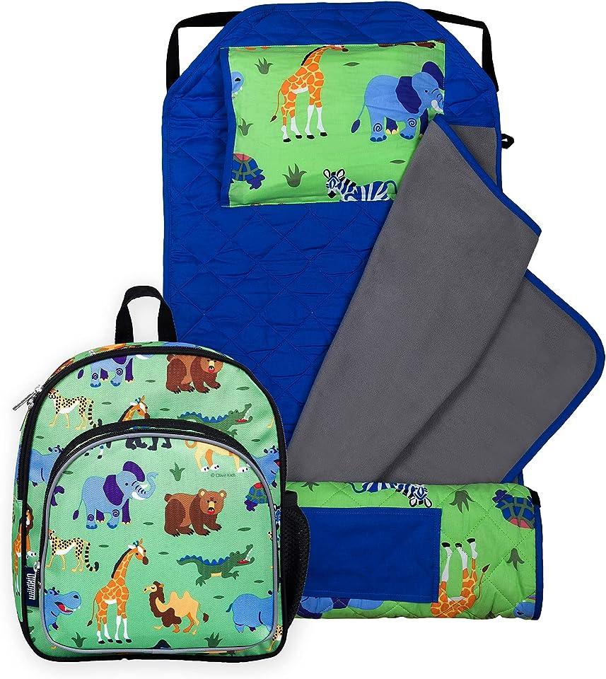 Wildkin 12 Inch Kids Backpack with Modern Nap Mat (Wild Animals)