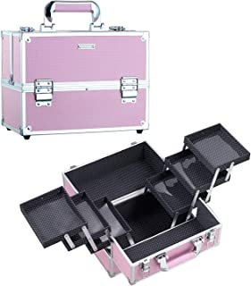 Frenessa Makeup Train Case Large Portable Cosmetic Case - 6 Tier Trays Professional Makeup Storage Organizer Box Make Up Carrier with Lockable keys - Pink