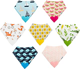 ROBABY Quality Designer Baby Bibs with Teether – Bargain – 7 Pack – Baby Boy Girl - Drool Bibs for Teething Baby – Gift Se...