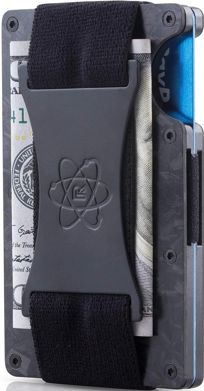 ROSSM Slim Minimalist Front Pocket RFID Blocking Carbon Fiber Metal Wallets for Men with Cash Strap
