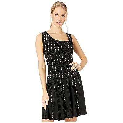 BCBGMAXAZRIA Dotted Striped A-Line Dress (Black/Combo) Women