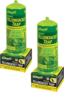 RESCUE Non-Toxic Reusable Yellowjacket Trap and 2 Week Refills, 2 Pack