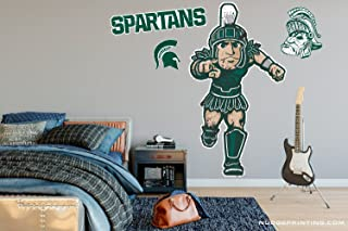 Nudge Printing Michigan State University Spartans Ready for Battle Sparty Mascot - XL MSU Sparty Wall Decal Sticker Set Peel and Stick