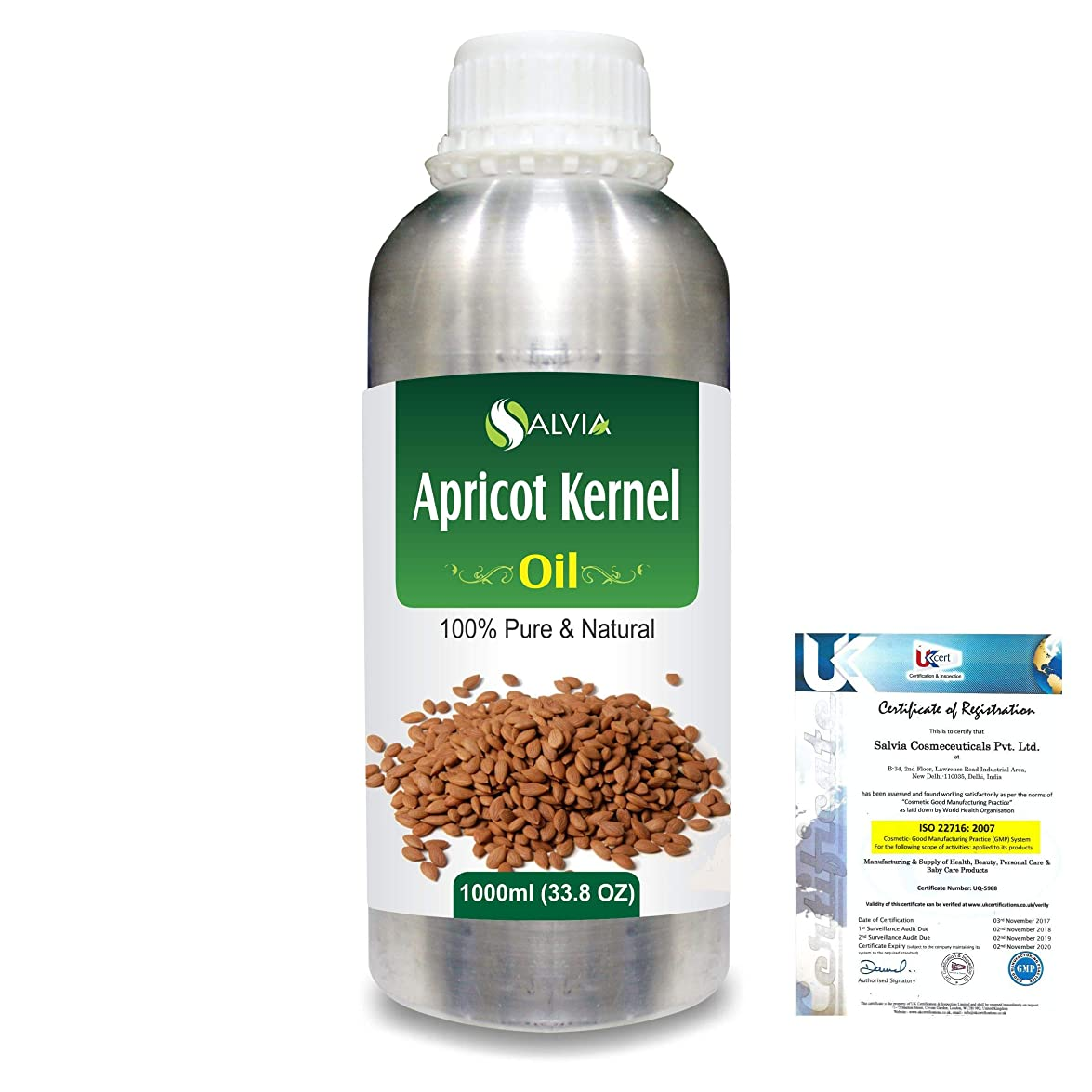 金属層無視Apricot Kernel (Prunus armeniaca) Natural Pure Undiluted Uncut Carrier Oil 1000ml/33.8 fl.oz.