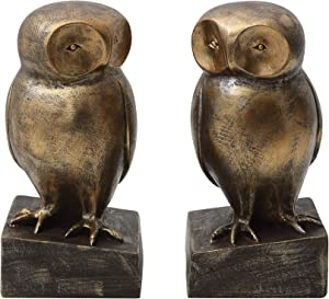 Bloomingville Creative Co-Op 2 Piece Resin Owl Bookends with Bronze Finish 02-Decorative Accents