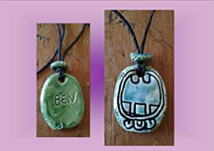 Mayan BEN Necklace Mesoamerican Tzolk'in Day Sign Reed Glyph Ceramic Amulet Turquoise Green Clay Pendant