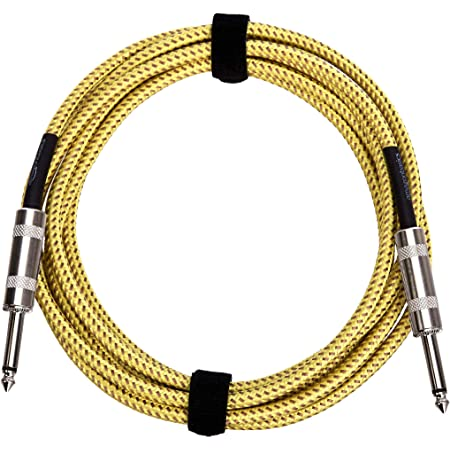 Amazon Basics 1/4 Inch Tweed Cloth Jacket Straight Instrument Cable - 10 Foot (Yellow & Brown)