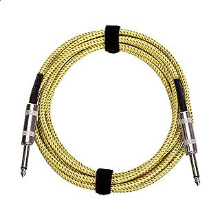 Amazonbasics - Cable para instrumentos de guitarra (1/4 pulgadas, gamuza de tweed, Con chaqueta de tela de tweed, Amarillo...