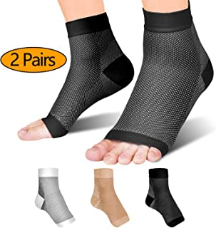Fondenn Plantar Fasciitis Socks (2 Pairs), Compression Foot Sleeves with Heel Arch & Ankle Support, Foot Care Compression Sleeve for Men & Women