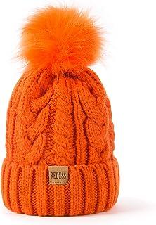 Women Winter Pompom Beanie Hat with Warm Fleece Lined, Thick Slouchy Snow Knit Skull Ski Cap