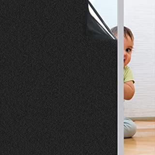 Coavas Blackout Window Film Non Adhesive Static Cling Darkening Black Frosted Insulation Privacy Removable 100% Light Blocking for Baby's Room Bedroom and Home 17.7