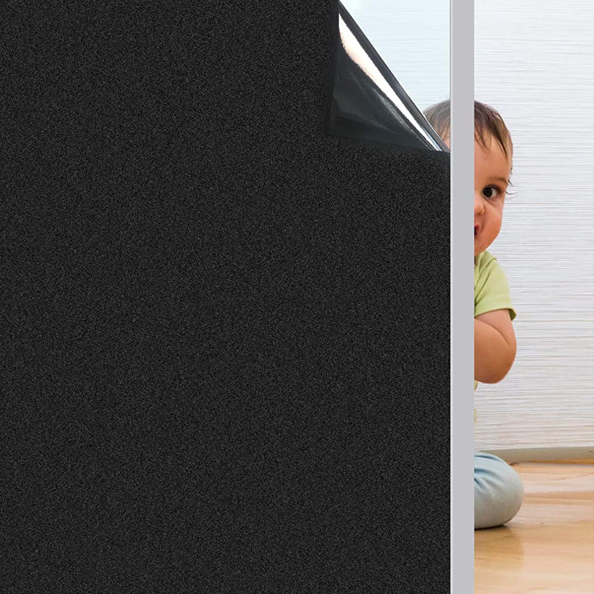 Coavas Window-Blackout-Film Non Adhesive Static Cling Tint Darkening Frosted Black Kids' Room Window Sticker Insulation 100% Light Blocking for Baby's Room Bedroom and Home 17.7