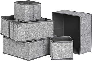 SONGMICS Organisateurs de tiroirs, Lot de 6, Boîtes de Rangement pour sous-vêtements, en Tissu Non-tissé Imitation Lin, po...
