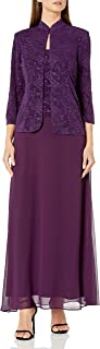 Women's Jacquard Long Dress Mandarin-Neck Jacket (Petite Regular)