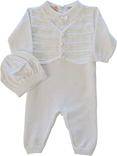 Boutique Collection Baby Boys' Christening Outfit with Attached Vest and Hat