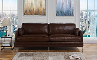 Brown Leather Upholstered Sofa Couch | Modern Brown Wide Top Grain Leather Couch Sofa w/ 2 Accent Pillows, Lounger Home Furniture Small/Large Sofas & Couches for Living/Theater Room Sofa Spaces, Brown