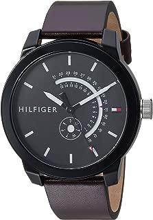 Tommy Hilfiger Men's Denim Quartz Watch with Leather Calfskin Strap, Brown, 19.1 (Model: 1791478)