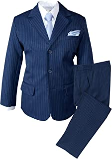 Boys' Pinstripe Blue Suit with Knit Tie and Satin Handkerchief
