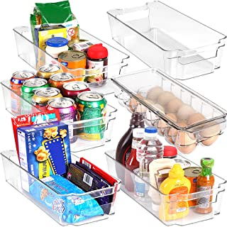 Set of 6 Refrigerator Pantry Organizers-Includes 6 Organizers (5 Drawers & 1 Egg Holding Tray)-Stackable Organizers for Fr...