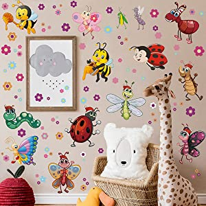 Cartoon Insect Wall Sticker DIY Removable Little Bee Flower Butterfly Ant Snake Ladybug Dragonfly Praying Mantis Peel and Stick Wall Decal Decor for Kids Baby Boys Bedroom Playroom Nursery Classroom (Insect)