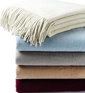 CUDDLE DREAMS Exclusive Mulberry Silk Throw Blanket with Fringe, Naturally Soft, Breathable (Ivory)