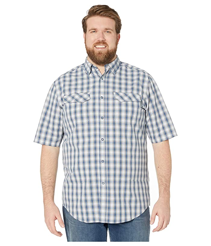 1960s Men's Clothing Wolverine Big Tall Pentwater Vented Back Short Sleeve Shirt Bay Blue Plaid Mens Clothing $28.99 AT vintagedancer.com