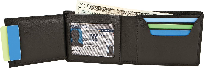 Travelon RFID Blocking Leather Billfold, Brown, One Size