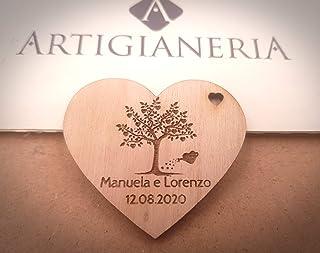 Artigianeria - Set di n°10 CALAMITE. Cuore in legno albero della vita personalizzato con nomi e data. Ideale come bombonie...