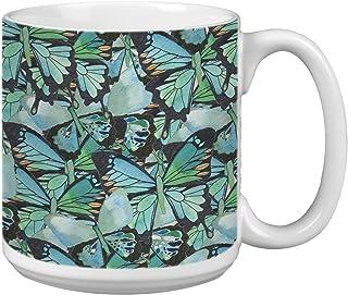 Tree-Free Greetings Extra Large 20-Ounce Ceramic Coffee Mug, Amazing Blue Butterflies Themed Shell Rummel Art