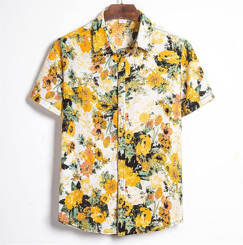 YUHUA-SHOP1983 Ugly Men Floral Loose Casual Hawaiian Holiday Beach Shirt Button-Down Shirt Short-Sleeved Beachwear (Color : Yellow, Size : XL)