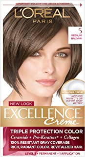 L'Oreal Paris Excellence Creme Permanent Hair Color, 5 Medium Brown, 100 percent Gray Coverage Hair Dye, Pack of 1