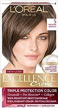 L'Oreal Paris Excellence Creme Permanent Hair Color, 5 Medium Brown, 1 Count kit 100% Gray Coverage Hair Dye