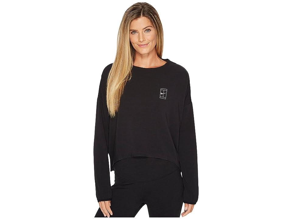 Nike Court Dry Tennis Top (Black/White) Women's Clothing