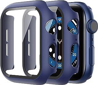 Diruite 2 sztuki etui do zegarka Apple Watch Series 7/6/5/4/SE, ze szkła pancernego, z poliwęglanu (PC), ochrona wyświetla...
