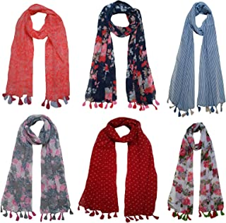 3ef3930ef3af1 FusFus Women's Poly Cotton Printed Scarf and Stoles (F008, Free Size) -Combo