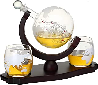 Verolux Whiskey Globe Decanter Set with 2 Etched Globe Glasses in Gift Box - for Liquor, Whiskey, Brandy, Gin, Rum, Tequil...