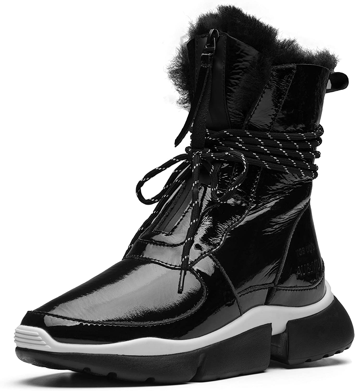 Aumu Patent Leather Feather Dress Upper Lace Band Elevator Hidden Heel Winter Snow Boots