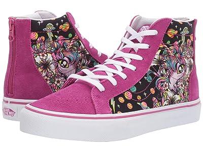 Vans Kids Sk8-Hi Zip (Little Kid/Big Kid) ((Space Unicorn) Fuchsia Red/True White) Girls Shoes