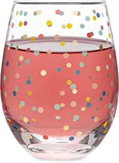 Colorful Confetti - 20 oz Stemless Wine Glass | All Over Confetti Polka Dot Multi Color Imprint | Perfect for Personalizing with Vinyl