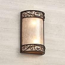 Natural Mica Rustic Wall Light Iron Scroll 12 1/2