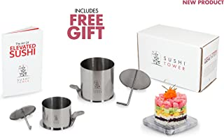 The Original Sushi Tower Kit - Premium Stainless Steel Sushi Making Set Featuring 2 Sizes, Storage Container, Free Gifts & Recipe Book: The Art of Elevated Sushi - Homemade Gourmet Sushi Your Way