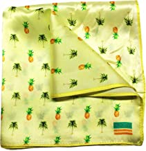 Silk Pocket Square by American Pocket Square Company   Tropical Yellow, Pineapples and Palm Trees, Premium Quality for Men: