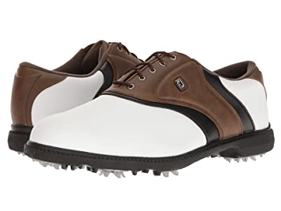 FootJoy Originals Cleated Plain Toe Twin Saddle (White/Brown/Black) Men