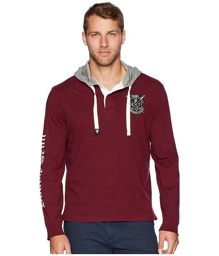 New Medium M Polo Ralph Lauren Mens hooded Rugby shirt T-shirt hoodie burgundy