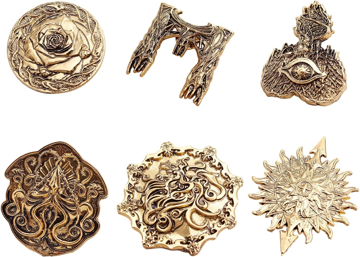 WYZDQ Men Lapel Pin/Shirt Stud Golden Badge Coat Suit Wedding Gift Party Shirt Collar Accessories Brooch (6 Packs)